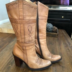 Zodiac tall heeled leather boots